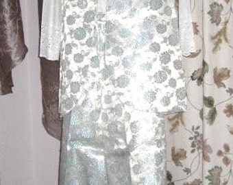 Vintage 60s 70s Brocade Vest and Pants - Silver Blue White