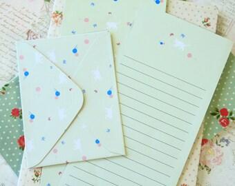 Green Cat Time Diary writing paper & envelope set