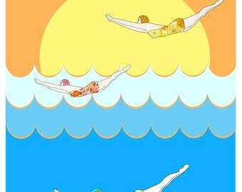 Divers at Dawn- Art Print