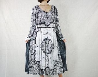 Deep Soft V Neck Long Sleeve Black Lace Graphic Print Light Rayon Kaftan Dress Mid Dress Women Tops Tunics Dress Women Sundress