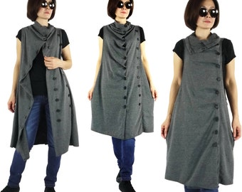 Funky Boho Sleeveless Double Breasted Dark Heather Grey Cotton Mix Polyester Jersey Jumper Tunic Dress Women Tops Size 0 To Size 14
