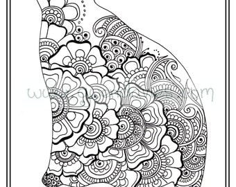 Adult Colouring In PDF Download Cat Henna Zen Mandalas Flower Anti Stress Mindfulness