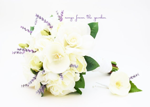 Real Touch Bouquet Gardenias Peonies Orchid Roses Real Touch Orchid Lavender Accents - Groom's Boutonniere - Silk Flower Bridal Bouquet