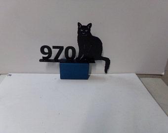 Sitting Cat 001 Address Sign Mailbox Topper Metal Yard Art Silhouette