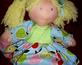 15 inch Waldorf doll with clothes, toys, vintage,