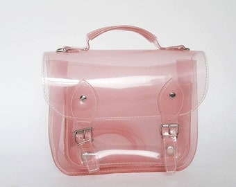 Bag number 3 Clear Pink plastic satchel shoulder strap (Ready to ship)
