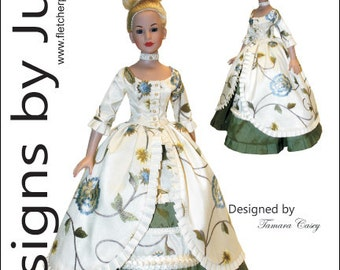 "PDF Opulent Gown Pattern for 18"" Kitty Collier Dolls Tonner"