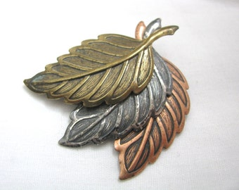 Mixed metal triple leaf pin brooch  Copper, silver gold tones