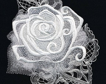Rose - Ghost Baroque Machine Embroidery Quilt Block Panel