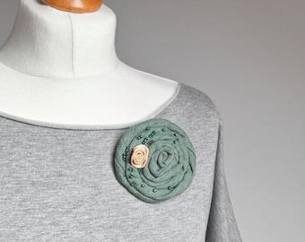 Fabric BROOCH Petal Flower Pin, Linen flower brooch, green pin brooch, women accessories, gift ideas