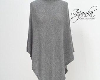 GREY women PONCHO, cashmere poncho cape L-XL size, autumn fashion, gift ideas, poncho wrap