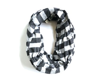 Striped Infinity Scarf - Holiday Gift Ideas Unisex - Charcoal Heather Grey Stripes - Fall Accessory - Winter Weather - Simple Modern Style