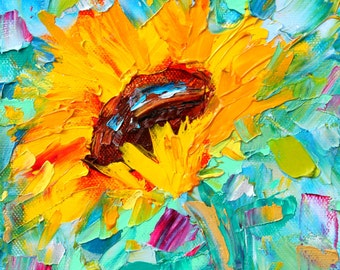 Sunflower Sunshine painting original oil 6x6 palette knife impressionism on canvas fine art by Karen Tarlton