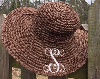 Ladies Floppy Beach Hat with Monogram or Initial,Woven Wicker, great for bridesmaids, wedding, trips, or the beach.  Floppy Brim