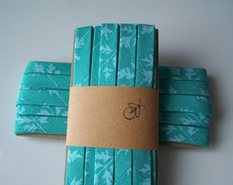 3 Yards Handmade Cotton Bias Tape Binding Turquoise Leaf 1/2 Inch Double Fold