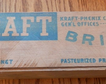 1 antique wooden Kraft brick cheese 5lb wood box