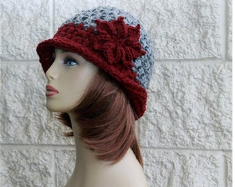 Hand crochet Hat - Womens Flapper style hat - Brim hat - Beautiful flower - Womens Accessories - Fall Winter Fashion hats