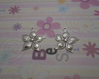 10pcs antique silver flower findings 34mmx32mm