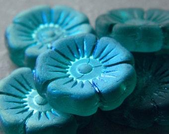 Czech glass flower beads, Pansy Flower Beads, Hawaiian flower beads, Large flower coin beads, Matte Emerald & AB, 22mm  (2pcs) NEW