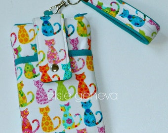 Calico Cats Phone Case with Belt Clip or Wristlet Zipper iPhone 5 6 Plus Smartphone