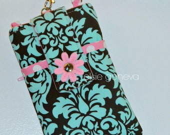 Aqua & Brown Damask and Pink Dots Phone Case with Wristlet With or Without Felted Flower iPhone 4 5 6 Plus Note - Made to Order