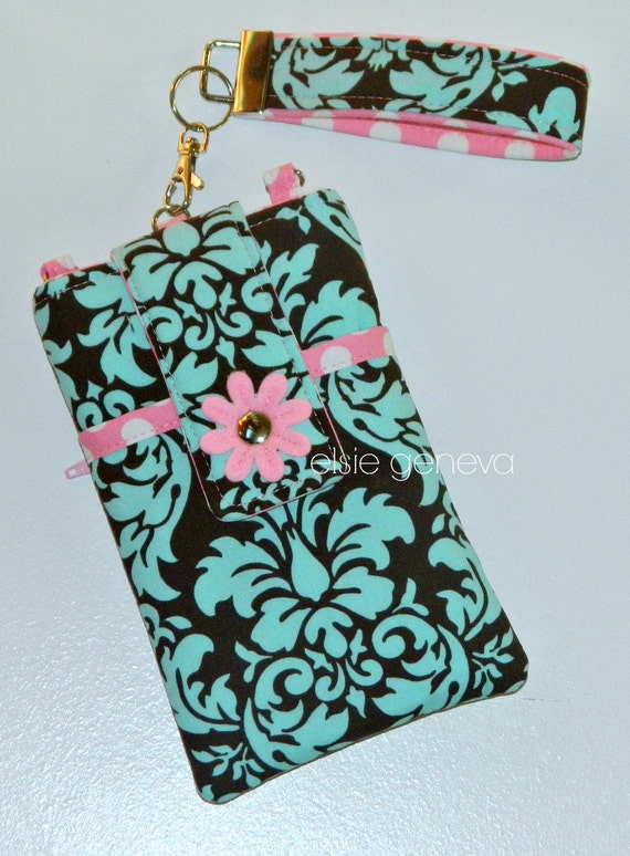 Ready to Ship Aqua & Brown Damask and Pink Dots Phone Case with Wristlet With or Without Felted Flower iPhone 4 5 6 Plus Note