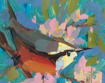 Red Breasted Nuthatch no. 10 Bird Art Print by Angela Moulton 8 x 8 inch