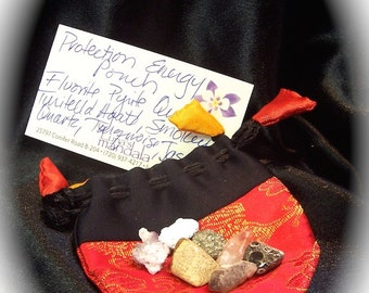 Protection Energy Power Pouch with 7 Natural Stones and Crystals FREE SHIPPING