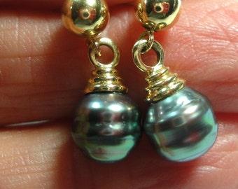 Vintge Black Pearl Earrings Tahitian South Sea Black Pearl Earrings 7.5mm Baroque AAA Quality 14k Gold Post Clutch Back Earrings