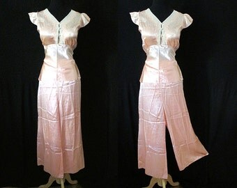 Exquisite 1930's Silk Satin Pajama Lounge Set with Hand Embroidery Old Hollywood Glamour Rockabilly Vlv Pinup Girl Boudoir Size-Medium