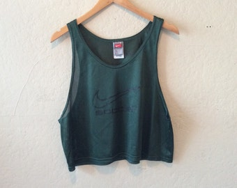 Vintage Nike Forest Green Mesh Cropped Tank Top