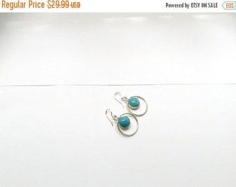 ON SALE Larimar Jewelry Larimar Dangle earrings round dot Sterling silver 925