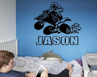 Personalized 4 Wheeler Wall Decal Quad Wall Sticker Custom Removable Wall Decal