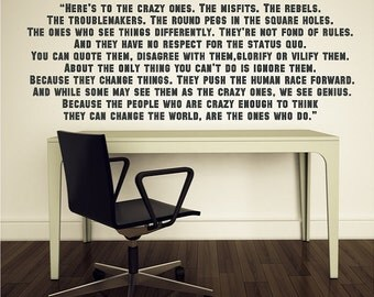 Here's to the crazy ones....Inspirational Wall Quotes Sayings Words Lettering Removable Inspiring Decals