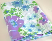 Vintage Sheet Fabric reclaimed bed sheet bed linen fabric retro summer spring blue Purple floral stripe vintage camper decor quilting fabric