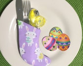 Cute Spring Easter Decorations for Colorful Table Settings - Set of 4 Flatware Holders