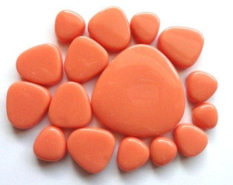 Peach Sherbet Turkish Glass Pebbles/Ovals Mosaic Tiles//Mosaic Supplies//Crafts//Mosaic
