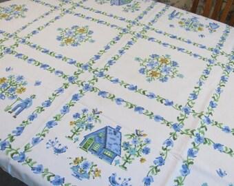 "Tablecloth - Pennsylvania Dutch Motif In a Faux Cross Stitch - 50"" by 62"" - Cotton"