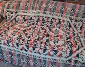 """Bed Coverlet - Antique 1860s -Pennsylvania - Woven Wool and Cotton Coverlet - 90"""" by 82"""" w/ the Fringe - Wonderful Condition"""