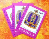 Pack of 3 Queen Elizabeth II 90th birthday crown postcards with free art stamps