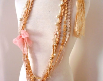 Shabby chic party lace beaded necklace, boho beaded lace necklace, tea dyed lace bead necklace, gypsy necklace