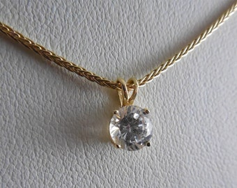 14K Gold 585 Necklace Snake Chain With Crystal CZ Pendant Italy 18""