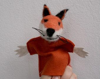 the fox, handmade handfelted finger puppet