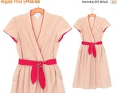 SALE Vintage 70s Dress * Wrap Midi Dress * Belted 1970s Dress * M / L