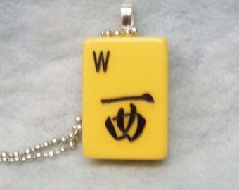 Mahjong Tile Pendant Necklace ~ W ~ West Wind ~ Original 1940's Bakelite Mahjong Tile 24 Inch Ball Chain Necklace