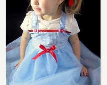 CYBER MONDAY SALE Wonderful Wizard of Oz Costume: Blue and White tutu dress, red sparkle, Dorothy, birthday party, halloween costume, dress-