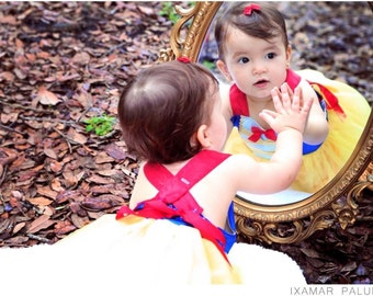 Snow White Costume: red blue & yellow lined tutu dress, gold sparkle, birthday party or parks trip dress, easy on and off style, adjustable