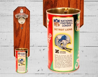 Detroit Lions Wall Mounted Beer Bottle Opener with Vintage Canada Dry Cap Catcher - Christmas Gift for Guy Football Fan
