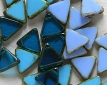 ON SALE Czech Glass Triangle Beads Top Drilled - Jewelry Making Supplies - Blue Assortment (3 Colors 10 beads Each Color) 13mm