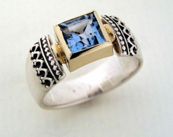 Blue Sapphire ring, Sterling silver ring, yellow gold ring, two tones ring, blue gemstone ring, square ring, filigree ring - Triumph R0184